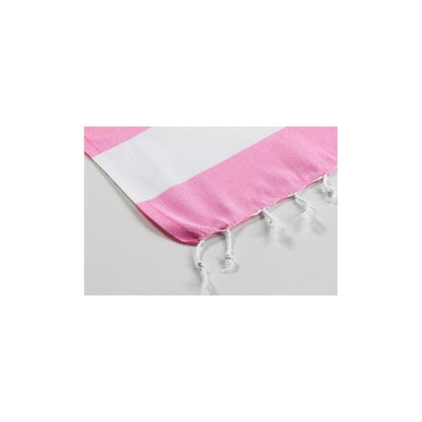 Hamam osuška Myra Pink White, 100x180 cm