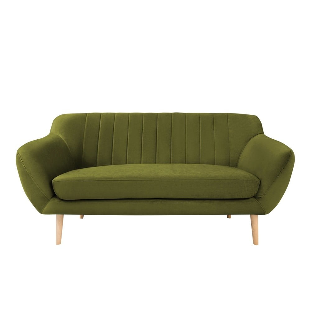 Zelená dvojmiestna pohovka so svetlými nohami Mazzini Sofas Sardaigne