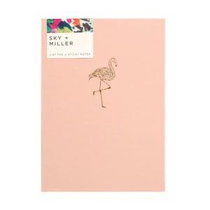 Svetloružový poznámkový blok so sadou lepiacich papierikov Portico Designs Flamingo, 60 strán