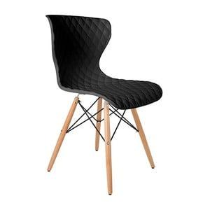 Čierna stolička s bukovou podnožou Crow Beech