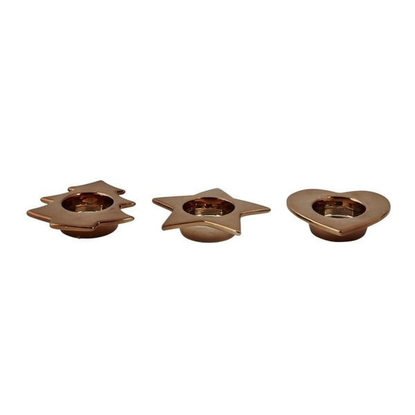 Sada 3 svietnikov KJCollection Tealight Bronze