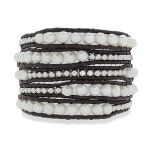 Tmavo hnedý päťradový náramok z pravej kože s perlami Lucie & Jade