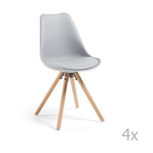 Sada 4 sivých jedálenských stoličiek La Forma Lars