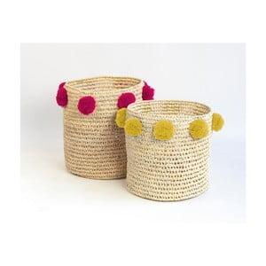 Sada 2 úložných košíkov z palmových vlákien s tmavoružovými a žltými dekoráciami Madre Selva Milo Basket