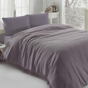 Fialová ľahká prikrývka cez posteľ Pique, 220x240cm