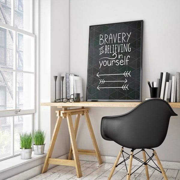 Plagát v drevenom ráme Bravery, 38x28 cm