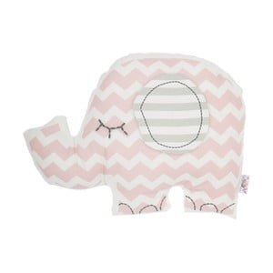Ružový detský vankúšik s prímesou bavlny Apolena Pillow Toy Elephant, 34 x 24 cm