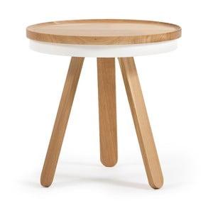 Prírodno-biely odkladací stolík z dubového dreva spodnosom Woodendot Batea S
