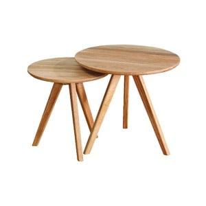 Sada 2 prírodných odkladacích stolíkov z dubového dreva Folke Yumi