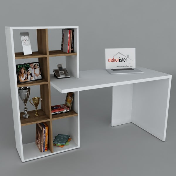 Pracovný stôl s knihovnou Win White/Walnut, 60x151x123,6 cm