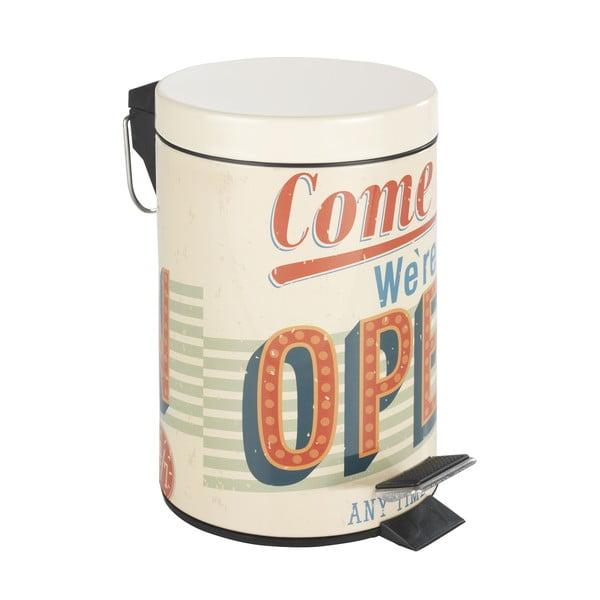 Pedálový retro odpadkový kôš Open, 3 l