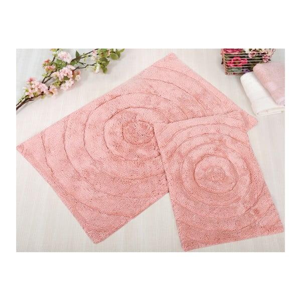 Sada 2 ružových kúpeľňových rohožiek Irya Home Waves, 60x100 cm a 40x60 cm