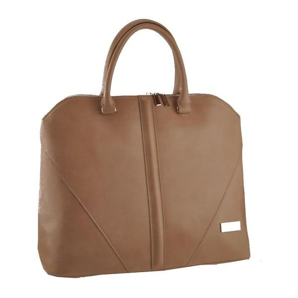 Kožená kabelka Mango, hnedosivá