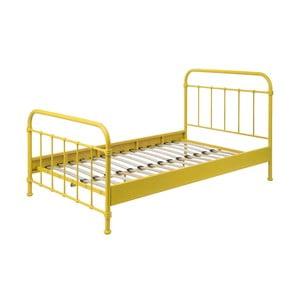 Žltá kovová detská posteľ Vipack New York, 120 × 200 cm