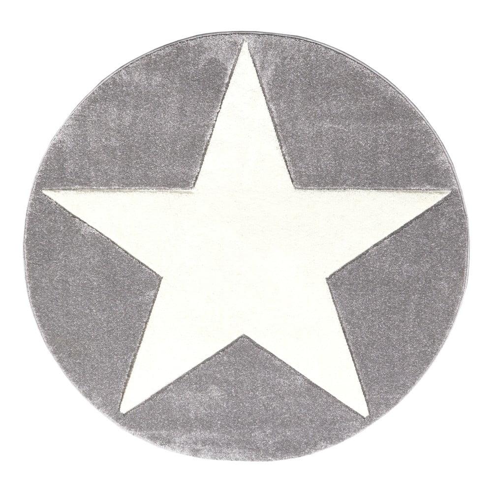 Sivý detský koberec Happy Rugs Round, Ø 133 cm