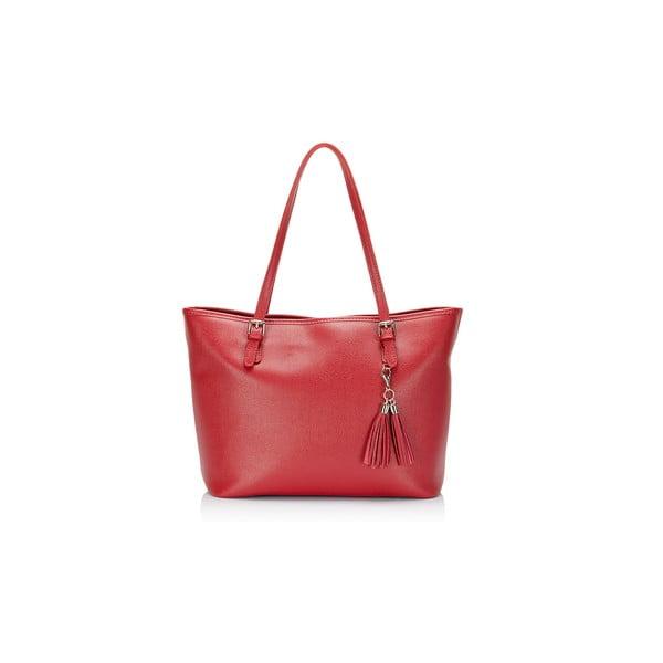 Červená kožená kabelka Lisa Mindardi Gosha