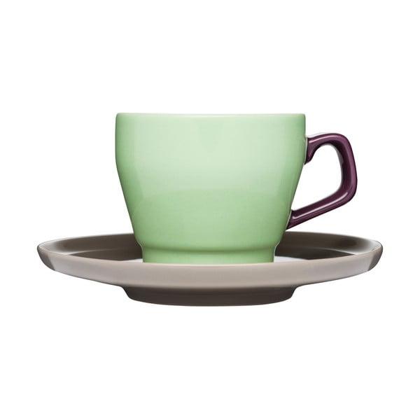 Šálka s tanierikom Sagaform Pop, zelená/hnedá
