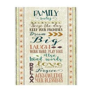 Plagát v drevenom ráme Family rules, 38x28 cm