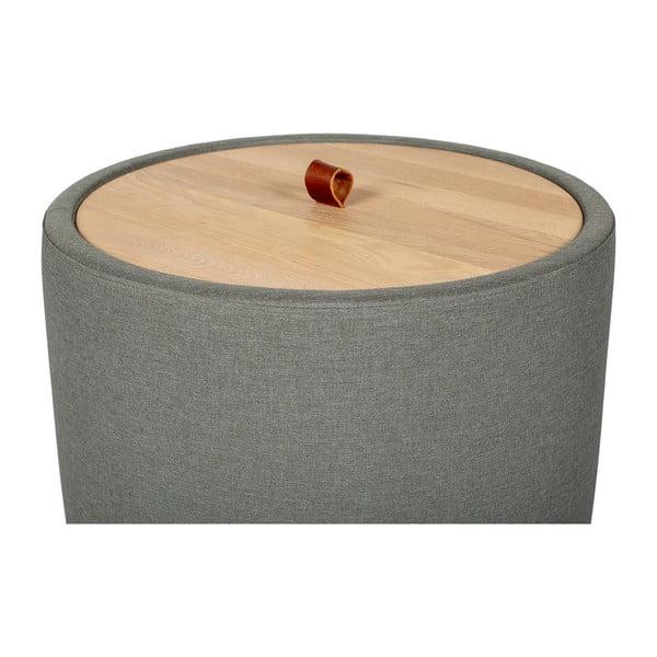 Odkladací stolík v zelenosivej farbe s odnímateľnou doskou z dubového dreva Askala Ibisco, ⌀ 56 cm