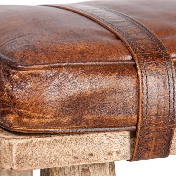 Malá stolička s koženým podsedákom Hassock