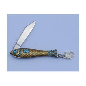 Český nožík rybička Azurová modrá s kryštálmi, zlatá
