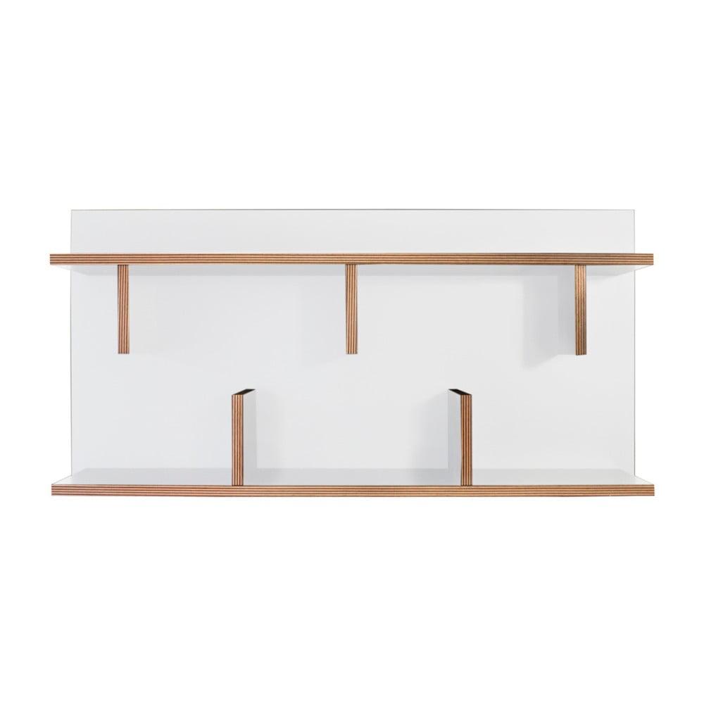Biely nástenný policový systém TemaHome Bern, dĺžka 90 cm