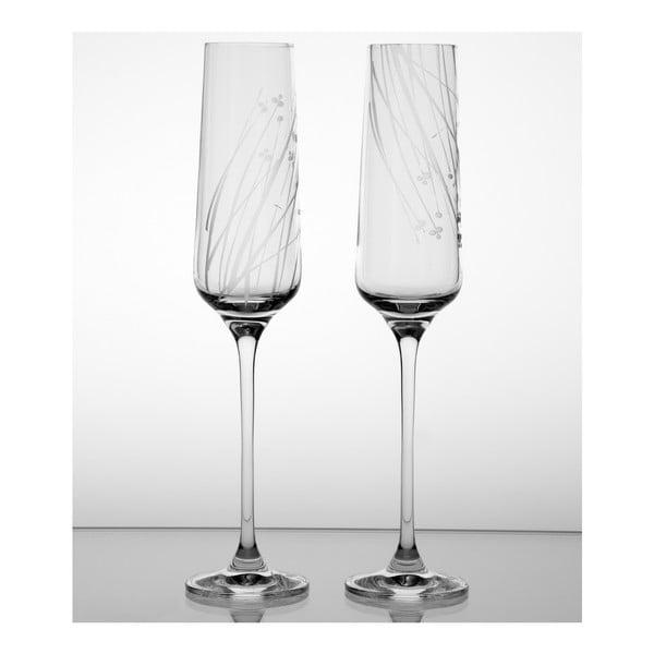 Ateliér Žampach, set 2 ks pohárov na šampanské Ľan