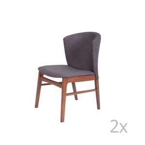 Sada 2 tmavosivých jedálenských stoličiek s tmavohnedým podnožím z kaučukovníkového dreva sømcasa Mara