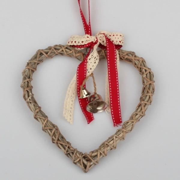Ratanové závesné srdce Dakls Bell, 20 cm