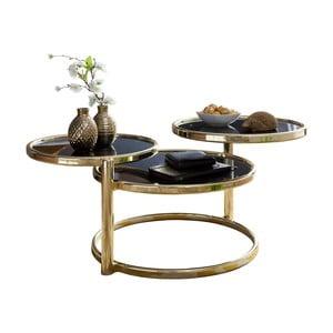 Čierny príručný stolík s nohami v zlatej farbe Skyport Susi, ⌀ 58 cm