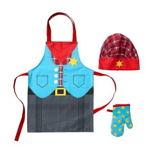 Detská sada zástery, čapice a kuchynskej rukavice Cowboy