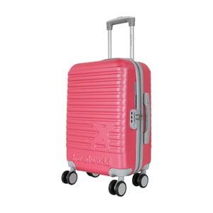 Ružovo-sivá príručná batožina na kolieskach Travel World