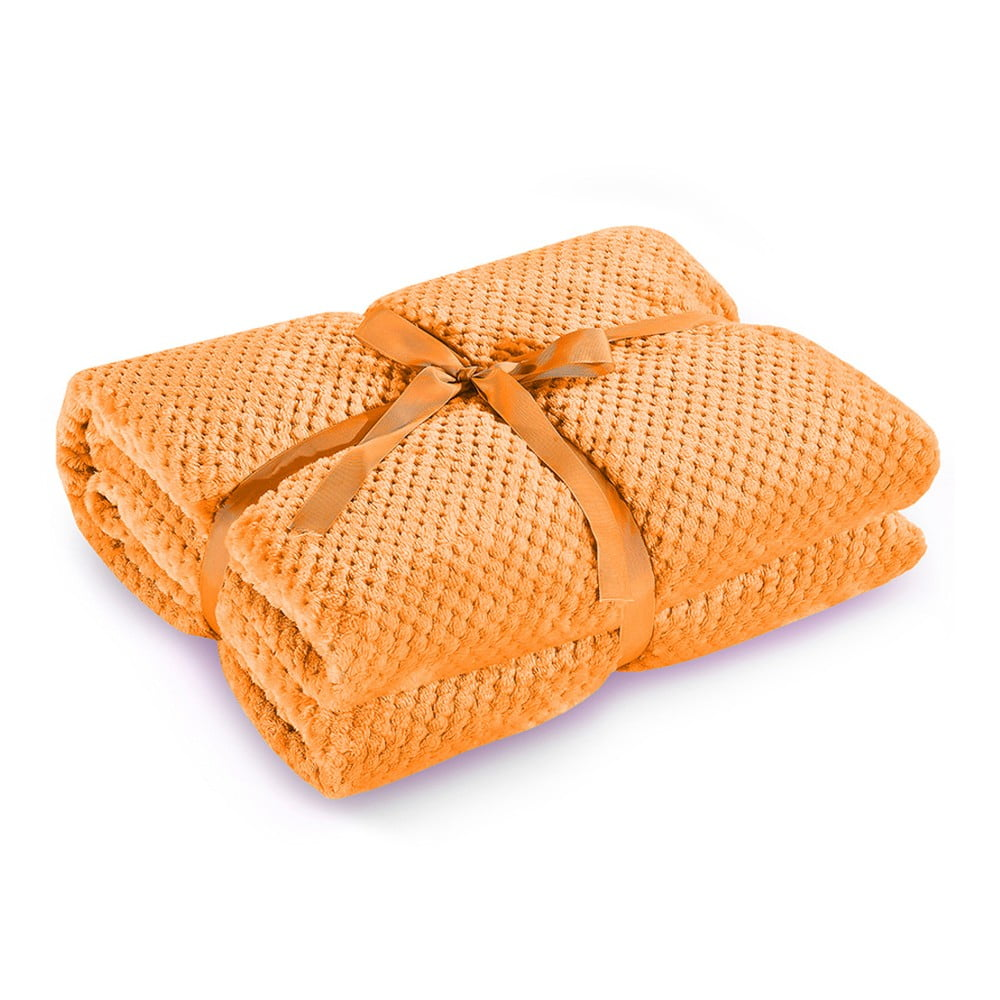 Oranžová deka z mikrovlákna DecoKing Henry, 220 × 240 cm