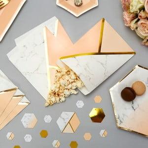 Sada 25 papierových vrecúšok Neviti Gold Colour Block Marble