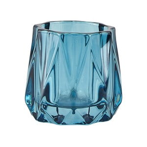 Modrý sklenený svietnik na čajovú sviečku KJ Collection Diam, ⌀ 6,5 cm