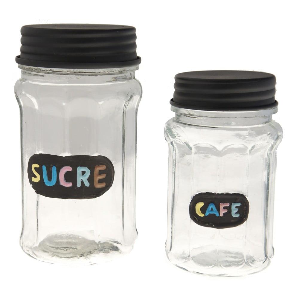 Sada 2 sklenených dóz Antic Line Sucre & Cafe