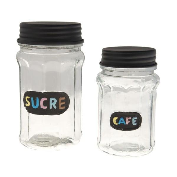Sada 2 sklenených dóz Sucre & Cafe