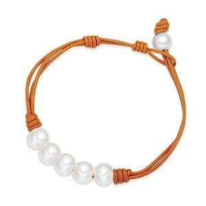Oranžový dámsky náramok z pravej kože s perlami Lucie & Jade Lili