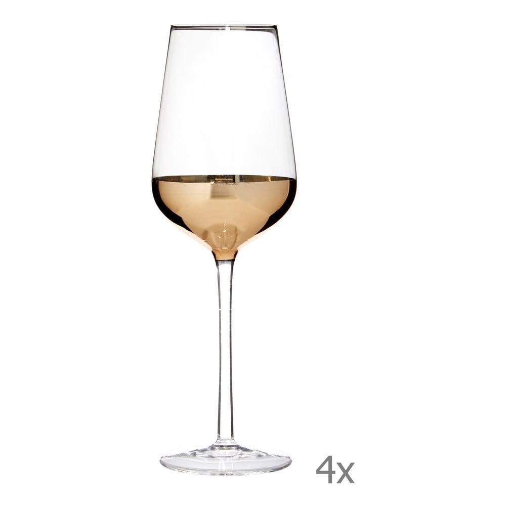 Sada 4 pohárov na víno s detailmi v zlatej farbe Premier Housewares Horizon