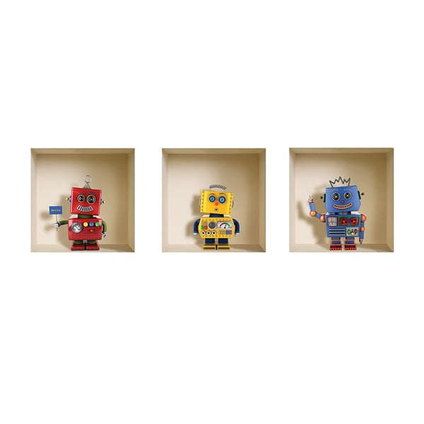 3D samolepky na stenu Robots