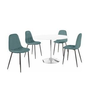 Sada okrúhleho jedálenského stola a 4 tyrkysových stoličiek Støraa Terri