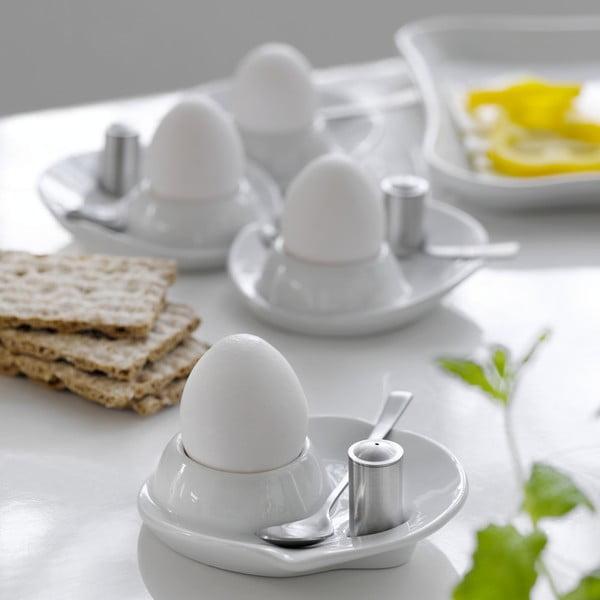 Set štyroch kalíškov na vajíčka s lyžičkou a soľničkou Steel Function