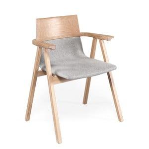 Kreslo s konštrukciou z dubového dreva a šedým sedákem Wewood - Portugues Joinery Pensil