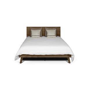 Hnedá posteľ s nohami z masívneho dreva TemaHome Mara, 160 × 200 cm