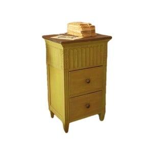 Žltý nočný stolík z mahagónového dreva Orchidea Milano Antique