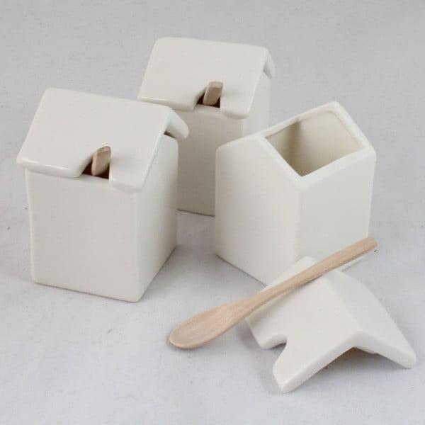 Sada 3 keramických dóz s lyžičkou Dakls White Home