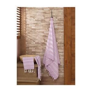 Set fialového uteráka s osuškou Hammam Sultan