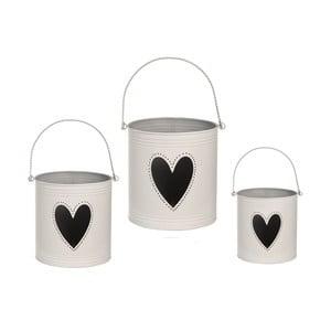 Sada 3 lampášov Heart Candles, biela