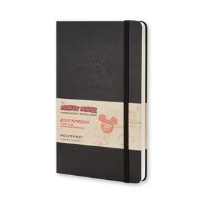 Veľký čierny zápisník Moleskine Mickey Mouse, linajkový
