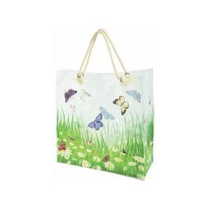 Biela nákupná taška s potlačou motýľov Ego Dekor Butterfly